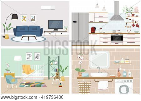 Set Of Vector Interiors With Furniture And Equipment. Design Of A Living Room, Kitchen, Bathroom, Nu