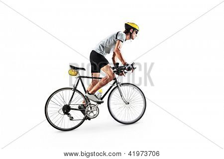 A male bicyclist riding a bicycle isolated against white background poster