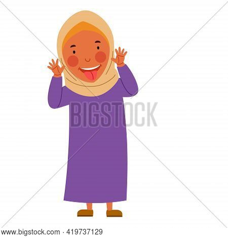 Muslim Girl Made A Face And Showed Her Tongue
