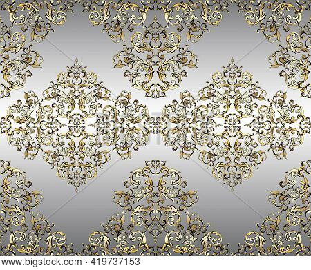 Vector Damask Vintage Baroque Ornament. Retro Pattern Antique Style Acanthus. Seamless Pattern.wall