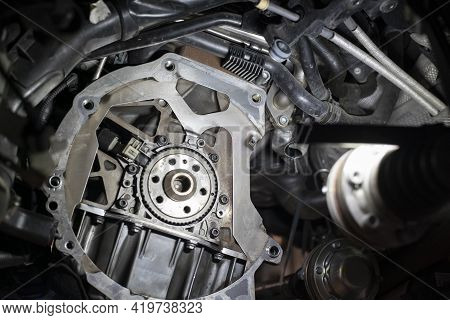 Detail Of Car Flywheel Assembly In A Workshop, Car Reparation Engine