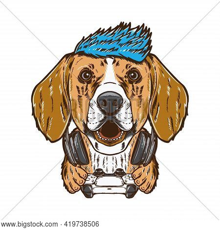 Cool Gamer Beagle Dog Pet Vector Illustration. Isolated On White Background. Suitable For Poster, Fl