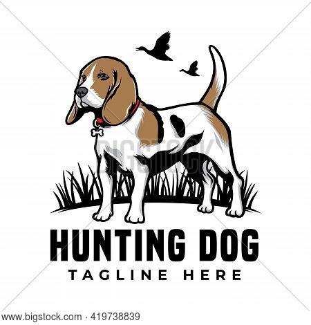 Cool Hunting Dog Beagle Pet Logo Vector Icon Illustration. Isolated On White Background. Suitable Fo