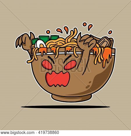 Ramen Bowl Monster Character For The Scary Event Vector Illustration. Suitable For Poster, Flyer, Gr