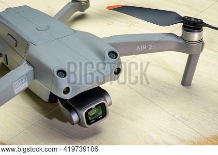 Fort Collins, CO, USA - May 6, 2021: New DJI Mavic Air 2s - an advanced prosumer folding lightweight drone.