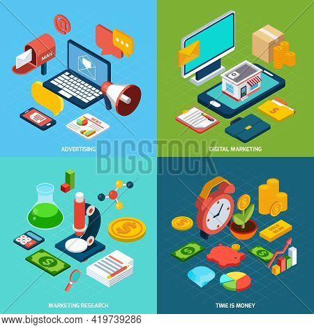 Digital Marketing Design Concept Set With Advertising Research Isometric Icons Isolated Vector Illus