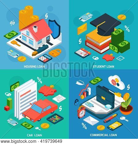 Loans Design Concept Set With Housing Student And Car Investment Isometric Icons Isolated Vector Ill