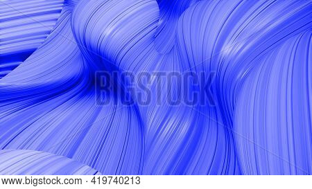 3d Render. Shining Blue Surface, Bright Colorful Background. Beautiful Abstract Background Of Waves