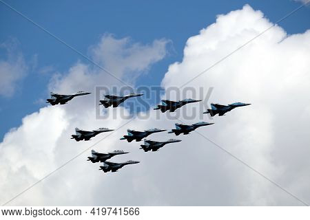 Moscow, Russia - May 7, 2021: Group Of Russian Military Supersonic High-altitude Interceptors Su-34,