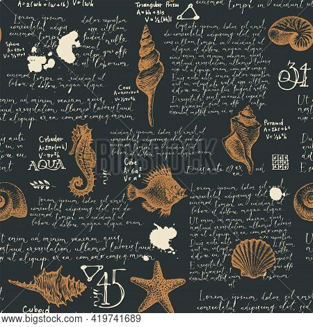 Abstract Seamless Pattern With Handwritten Lorem Ipsum Text And Hand-drawn Seashells. Vector Backgro