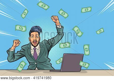 Pop Art Comics Successful Happy Business Man Celebrating In Falling Down Money.the Business Concept
