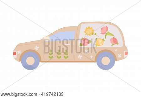 Floristics Flat Composition With Isolated Image Of Car With Florists Shop Branding On Blank Backgrou