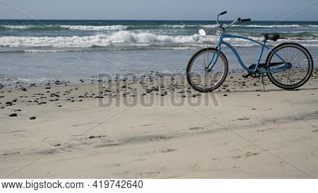 Blue Bicycle, Cruiser Bike By Ocean Beach Pacific Coast, Oceanside California Usa. Summertime Vacati