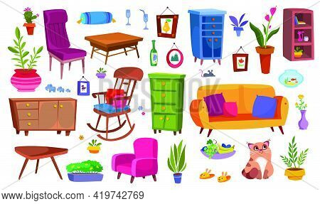 Home Furniture Big Clipart Set. Household Items, Sofa, Chair, Wardrobe And Plants Are Funny. Illustr
