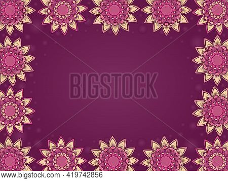 Colorful Greeting Card With Ornamental Flowers And Circles In Muted Magenta And Pink Hues