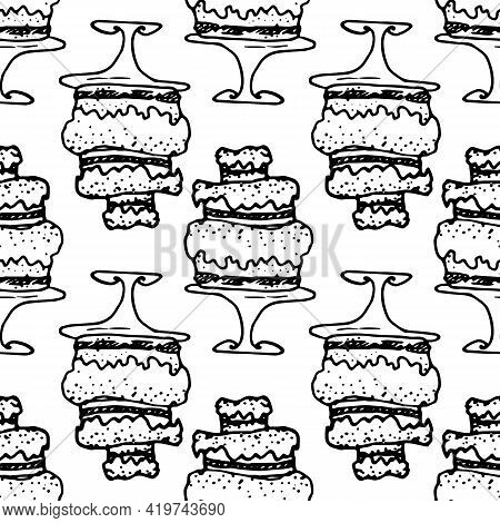 Vector Seamless Pattern Of A Multi-tiered Cream Cake On A Stand With A Dot Texture, Hand-drawn In Do