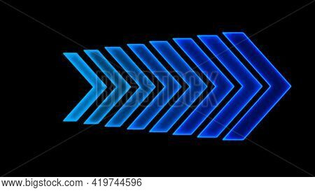 3d Rendering Of Glowing Arrows On A Black Background. Direction Indicators. Futuristic Glowing Backg