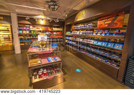 Titlis, Engelberg, Switzerland - Aug 27, 2020: Lindt Store With Chocolates, Of The Rooftop Restauran