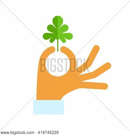 Cilantro Leaf In A Hand Of Cook. Vector Isolated On White.