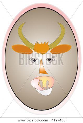 Symbol 2009. Funny bull with eyelashes and tongue. poster