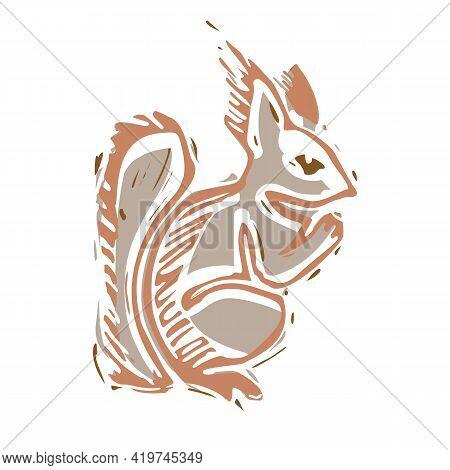 Naive Carved Squirrel Block Print Motif Icon. Cute Rustic Folk Silhouette Illustration Clipart. Deco