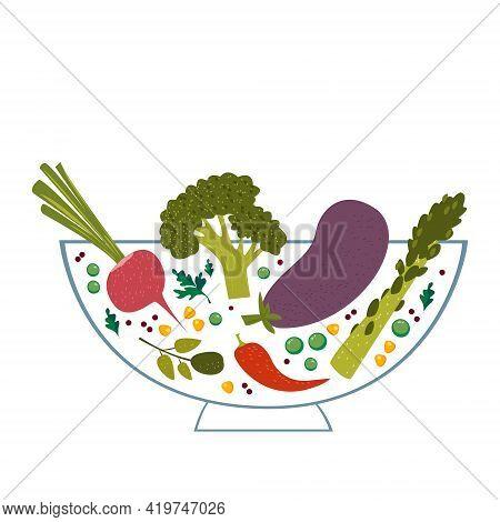 Vegetables In A Transparent Bowl. Vector Illustration On White Background. Food For Vegetarians And