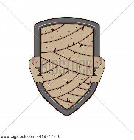 Mummy Bandage Metal Shield Badge Logo Template Illustration