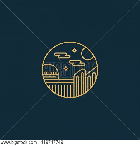 Night City Town University Monoline Badge With Dome Building