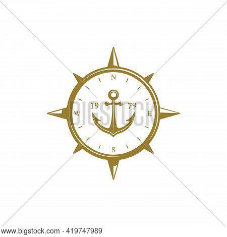 Sailor Compass With Anchor Logo Badge Or Insignia
