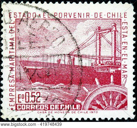 Chile - Circa 1971: A Stamp Printed In Chile Shows The State Maritime Company With The Motto, The Fu
