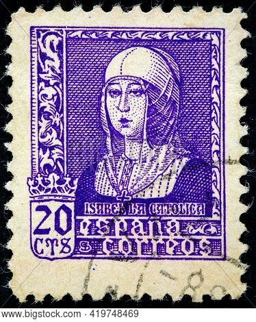 Spain - Circa 1937: A Stamp Printed In Spain Shows Queen Isabella I Of Castile (1451-1504), Also Kno
