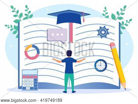 Illustration Of A Book Vector, The Learning Process As Knowledge Learning From The Concept Of Educat