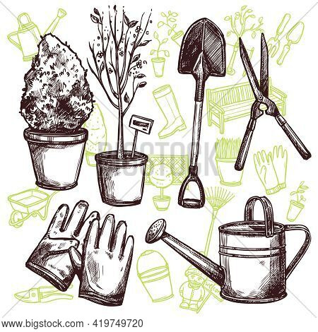 Garden Tools Shovel Pruner Lake And Gloves And Seedlings In Pots Sketch Seamless Concept Vector Illu