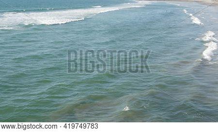 Pacific Ocean Big Waves Splashing, California Coast Usa. Water Surface Texture And Sea Foam. Seascap