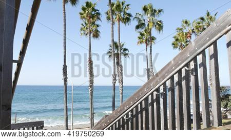 Wooden Stairs, Beach Access In Oceanside, California Usa. Coastal Stairway, Pacific Ocean Waves And