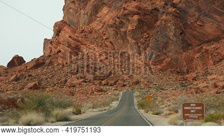 Road Trip, Driving Auto In Valley Of Fire, Las Vegas, Nevada, Usa. Hitchhiking Traveling In America,