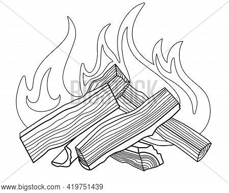 Bonfire - Vector Linear Picture For Coloring. Outline. Burning Firewood - Element For Coloring Book.