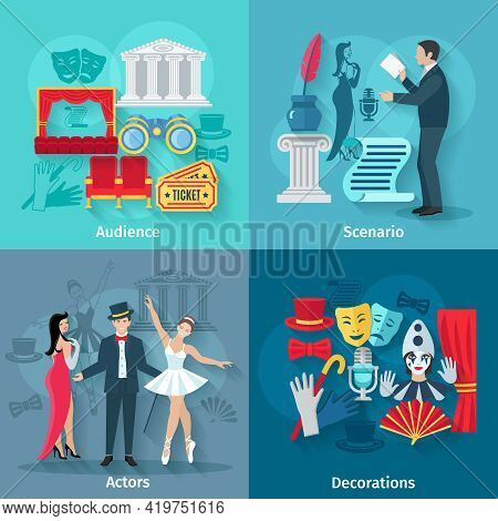 Theater Design Concept Set With Audience Scenario Actors And Decorations Flat Icons Isolated Vector