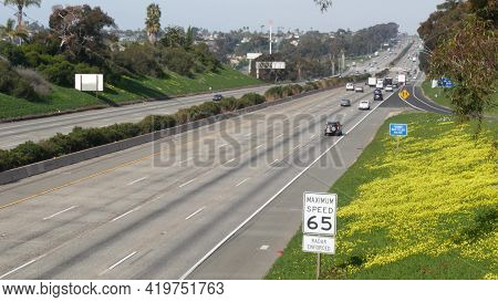 Cars On Interstate Highway 5, Oceanside California Usa. Automobiles On Intercity Freeway. Auto Trans