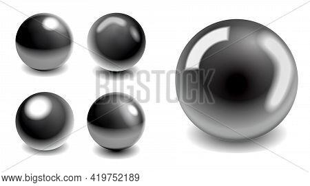 Set Of Steel Metallic Balls Or Silver Balls Shadows Or Globe World Map Steel Metallic Sphere Reflect