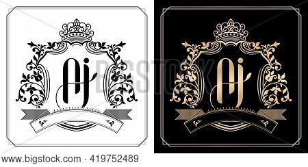 Aj Royal Emblem With Crown, Set Of Black And White Labels, Initial Letter And Graphic Name Of Floral