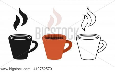 Cup With Smoke. Hot Espresso Coffee Cartoon Set Line Icon, Black Glyph Style. Trendy Coffee Cup Beve