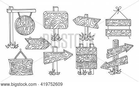 Wooden Signs Billboard Doodle Line Set. Rural Arrow Pointer Collection. Outline Blank Various Forms