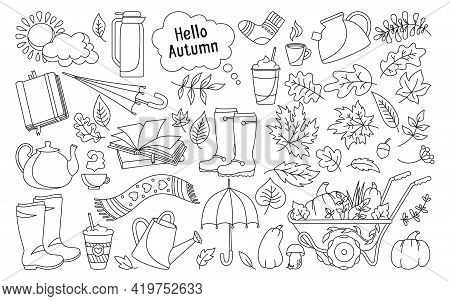 Autumn Hand Drawn Trendy Cartoon Doodle, Set. Rural Black Line Rustic Fall Leave, Book Coffee, Umbre