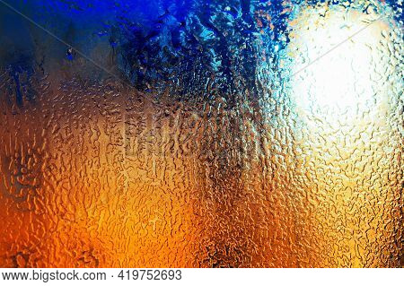 Texture Of The Ice On The Glass . Winter Background . Icy Gradient Texture