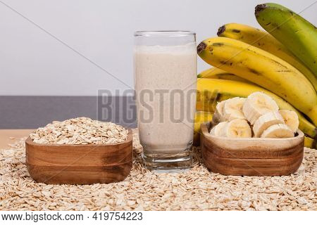Healthy Food - Healthy Combination Of Oat Flakes With Ripe Banana.
