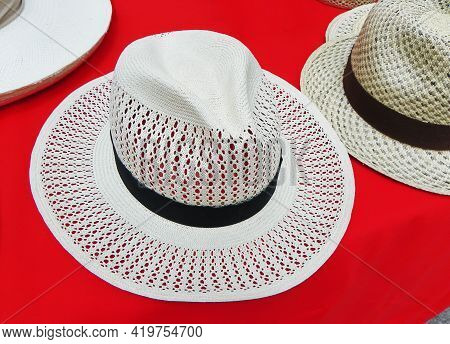 Handmade Panama Hats Or Paja Toquilla Hats Or Sombreros At The Traditional Outdoor Market In Cuenca,