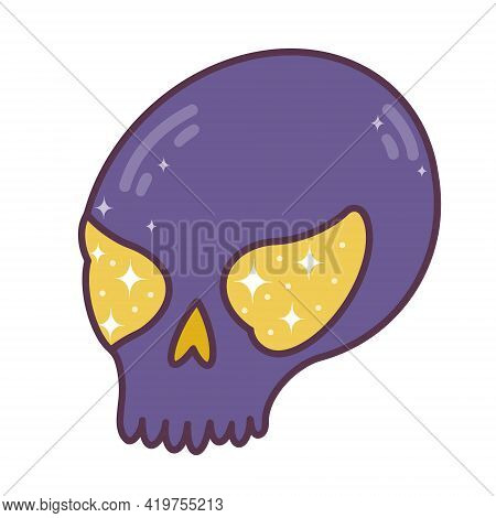 Vector Illustration Of A Cute Skull. Purple Skull With Fire In The Eye Sockets. Magic Artifact Isola