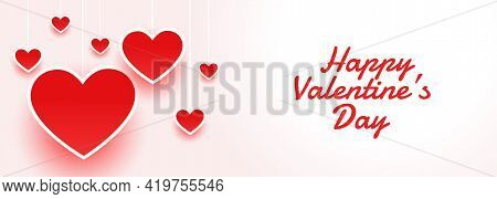 Happy Valentines Day Atractive Banner With Hearts
