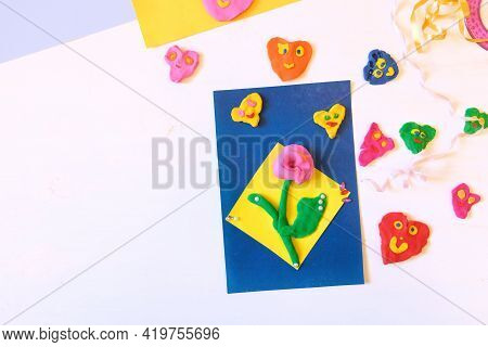 Homemade Greeting Card, Flower And Hearts From Paper And Clay, Plasticine As Gift For Mothers Day, B